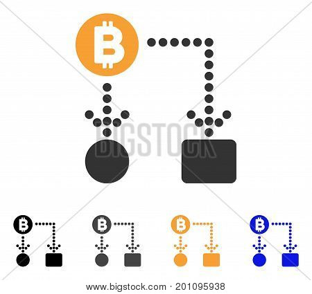 Bitcoin Cashflow icon. Vector illustration style is flat iconic symbol with black, grey, orange, blue color variants. Designed for web and software interfaces.