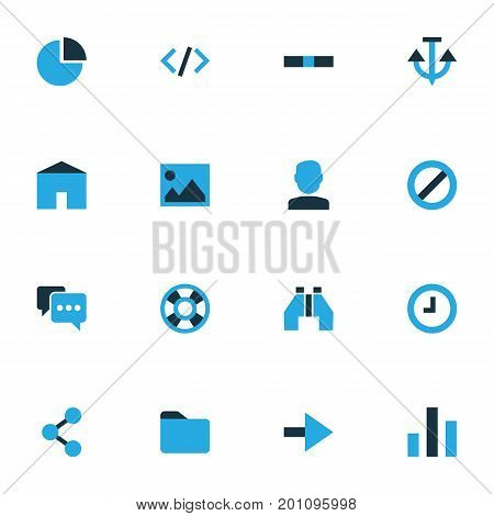 Interface Colorful Icons Set. Collection Of House, Dossier, Tag And Other Elements