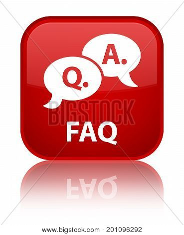 Faq (question Answer Bubble Icon) Special Red Square Button