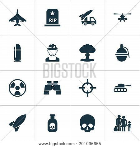 Battle Icons Set. Collection Of Missile, Panzer, Chopper And Other Elements