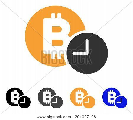 Bitcoin Credit Time icon. Vector illustration style is flat iconic symbol with black, grey, orange, blue color variants. Designed for web and software interfaces.