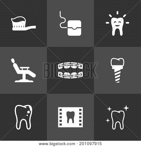 Collection Of Decay, Tooth, Armchair And Other Elements.  Set Of 9 Dentist Icons Set.