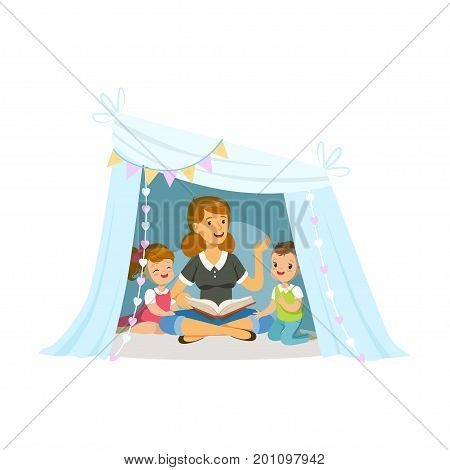 Mum reading a book to her children while sitting a in wigwam, kids having fun in a hut vector Illustration on a white background