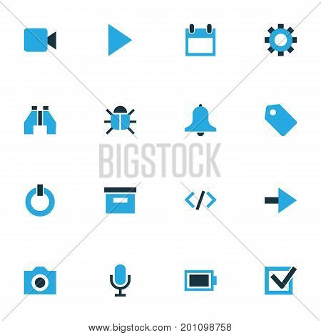 User Colorful Icons Set. Collection Of Virus, Photo, Mike And Other Elements