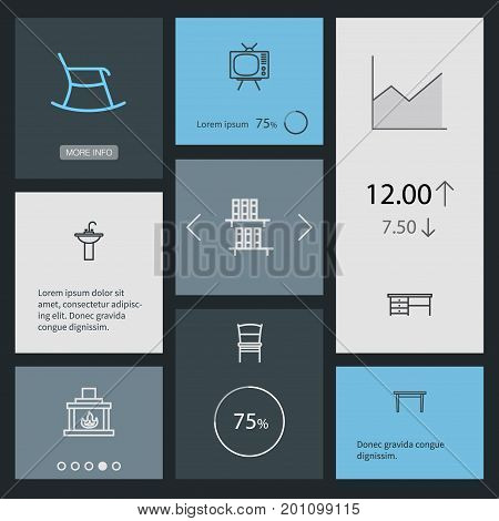 Collection Of Tv Set, Bookshelf, Desk And Other Elements.  Set Of 8 Set Outline Icons Set.