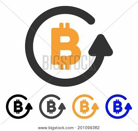 Bitcoin Refund icon. Vector illustration style is flat iconic symbol with black, gray, orange, blue color variants. Designed for web and software interfaces.