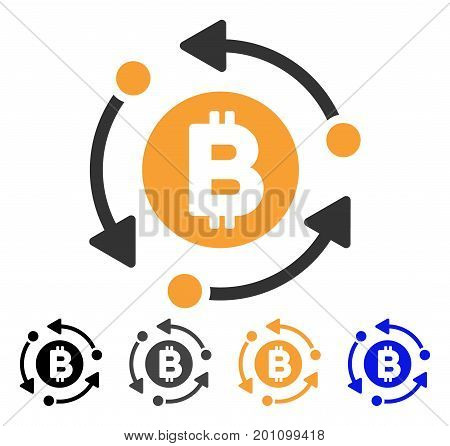 Bitcoin Rotation Arrows icon. Vector illustration style is flat iconic symbol with black, grey, orange, blue color variants. Designed for web and software interfaces.