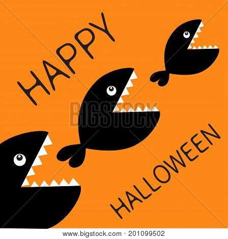 Happy Halloween card. Fish monster eating each other. Three fishes. Food chain. Black color silhouette. Cute cartoon character set. Baby kids collection.Orange background. Isolated. Flat design Vector