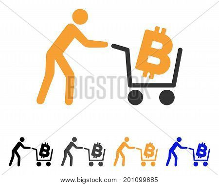 Bitcoin Shopping Cart icon. Vector illustration style is flat iconic symbol with black, gray, orange, blue color variants. Designed for web and software interfaces.