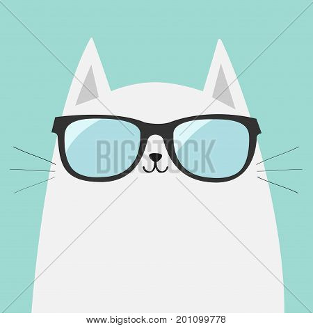 White cat wearing sunglasses eyeglasses. Shining lenses. Cute cartoon funny character. Kitten in eyeglasses. Fashion animal. Blue background. Isolated. Flat design Vector illustration