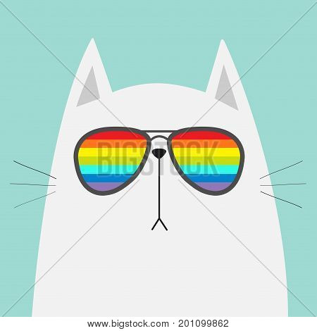 White cat wearing sunglasses eyeglasses. Rainbow color lenses. LGBT sign symbol. Cute cartoon funny character. Kitten in eyeglasses. Fashion animal. Blue background. Isolated. Flat design Vector
