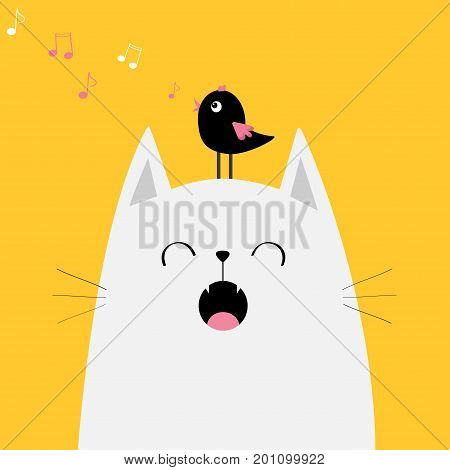 White cat face silhouette meowing singing song. Bird on head. Music note flying. Cute cartoon funny character. Kawaii animal. Baby card. Pet collection. Flat design. Yellow background Isolated. Vector