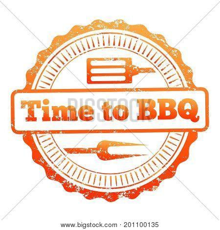Time to BBQ colorful label design. Bbq label symbol, vector illustration