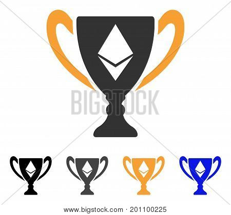 Ethereum Award Cup icon. Vector illustration style is flat iconic symbol with black, gray, orange, blue color variants. Designed for web and software interfaces.