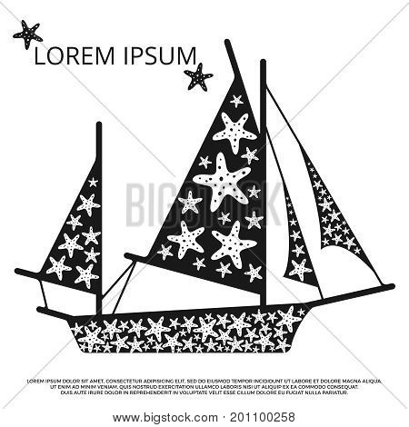 Black and white sailboat with sea stars. Sailboat and ship, vector illustration