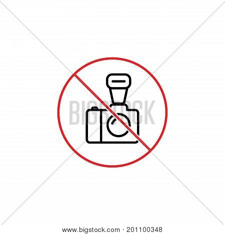 No Professional  Photo Prohibition Sign On White Background