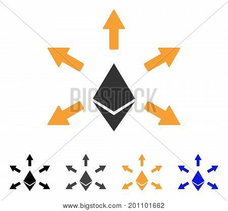 Ethereum Emission icon. Vector illustration style is flat iconic symbol with black, grey, orange, blue color variants. Designed for web and software interfaces.