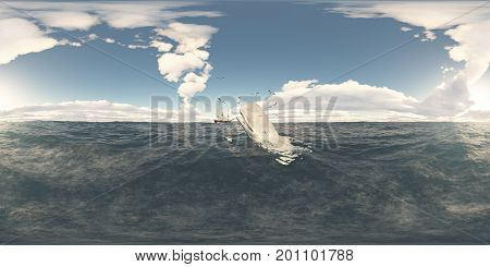 Computer generated 3D illustration with a spherical 360 degrees seamless panorama of sperm whale, seabirds and whaling ship