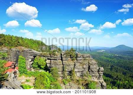 View of Pravcicka brana, largest natural sandstone arch in Europe in National Park Bohemian Switzerland, Czech Republic.