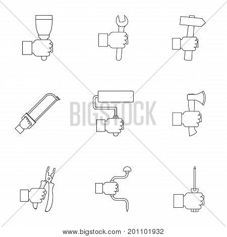 Hand instrument icon set. Outline set of 9 hand instrument vector icons for web isolated on white background