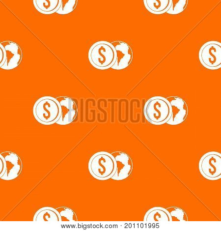World planet and dollar coin pattern repeat seamless in orange color for any design. Vector geometric illustration