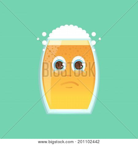 Character glass with beer foam and bubbles. Emotional icon. Annoyance crying tears in my eyes. To the day of the Oktoberfest. Cartoon style. Sticker for messengers and other communications.