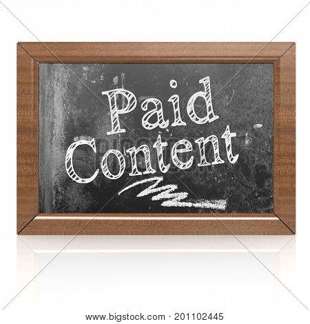 Paid Content Text Written On Blackboard