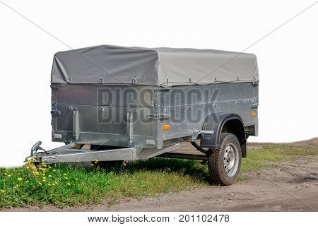 Grey Trailer Car Isolated On White Background.