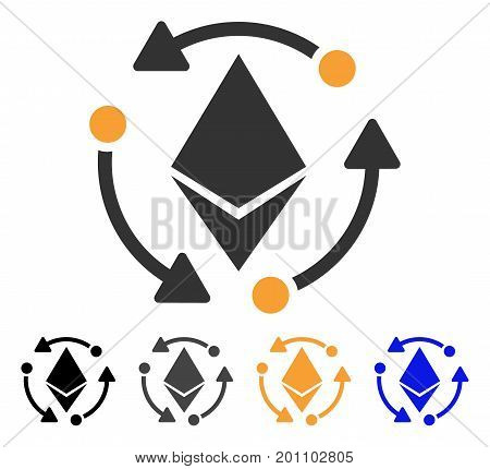 Ethereum Rotation icon. Vector illustration style is flat iconic symbol with black, gray, orange, blue color variants. Designed for web and software interfaces.