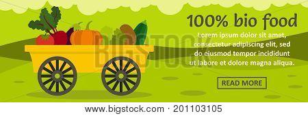 100 percent bio food banner horizontal concept. Flat illustration of 100 percent bio food banner horizontal vector concept for web