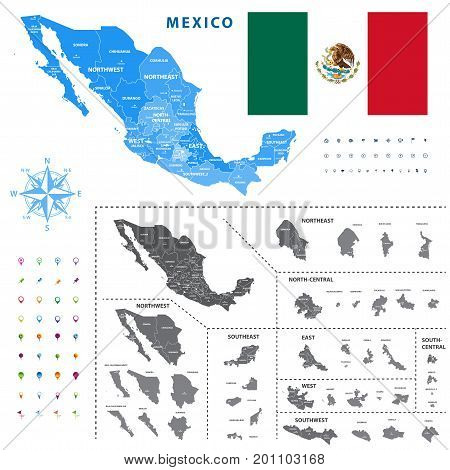 map of Mexico regions represents a general outline of a states ciudades. All layers detached and labeled.