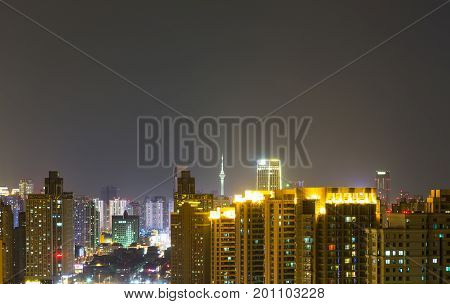 panoramic view of cityscapemidtown skyline at nightshot in China.