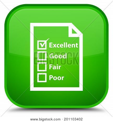 Questionnaire Icon Special Green Square Button