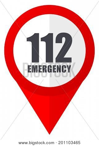 Number emergency 112 red web pointer icon. Webdesign button on white background.