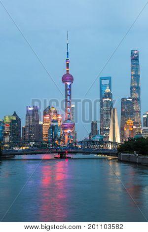 Shanghai skyline panoramalandmarks of Shanghai with Huangpu river at night in China.