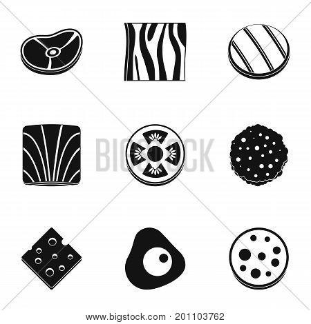 Eco slice vegetables icon set. Simple set of 9 eco slice vegetables vector icons for web isolated on white background
