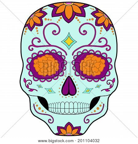 Mexican sugar skull. Day of the dead skulls.Day of the dead souls.