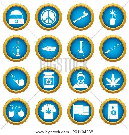 Rastafarian icons blue circle set isolated on white for digital marketing