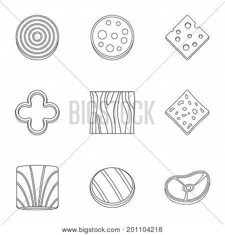 Kitchen sliced product icon set. Outline set of 9 kitchen sliced product vector icons for web isolated on white background