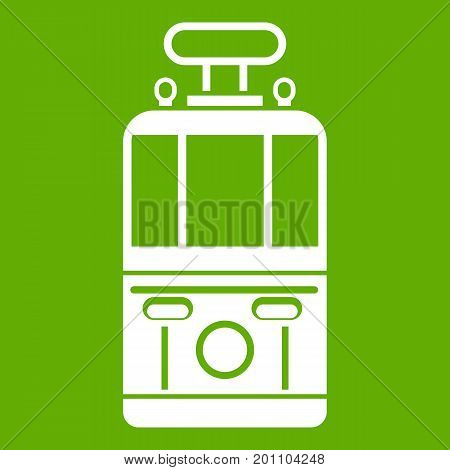 Tram front view icon white isolated on green background. Vector illustration