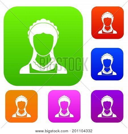 Cleaning household service maid set icon in different colors isolated vector illustration. Premium collection