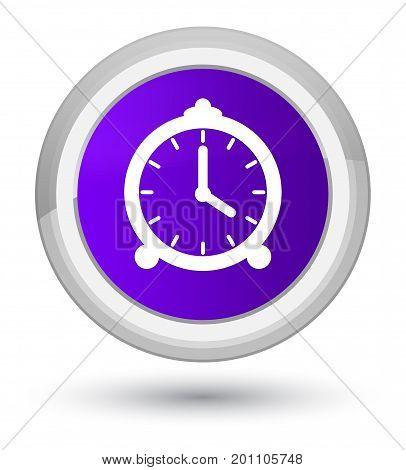 Alarm Clock Icon Prime Purple Round Button