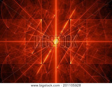 Fiery red glowing laser beams computer generated abstract background 3D rendering