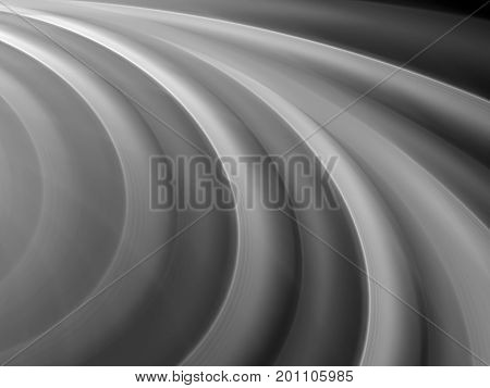 Curvy wavy shapes in space texture black and white computer generated abstract background 3D rendering