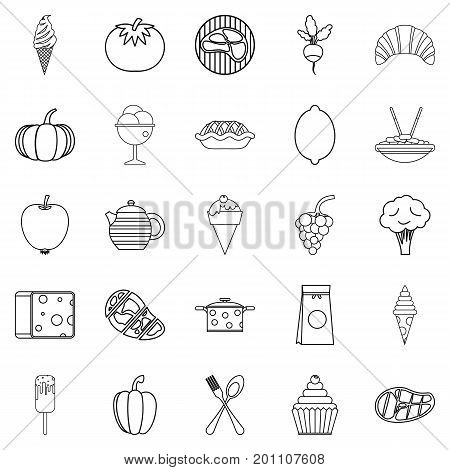 Veggies icons set. Outline set of 25 veggies vector icons for web isolated on white background