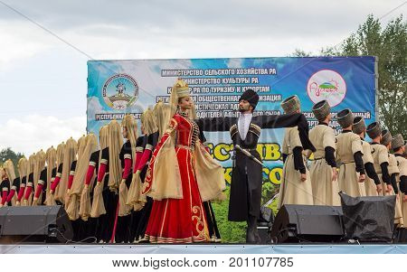 Adygea Russia - August 19 2017: The state academic ensemble of folk dance of Adygeya Nalmes at the festival of Circassian cheese in the Republic of Adygea