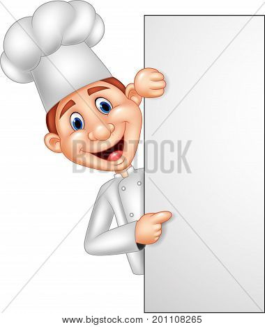 Vector illustration of Cartoon chef holding blank sign