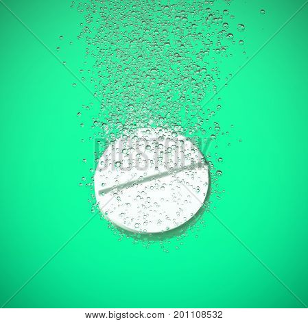 Effervescent medicine. Fizzy tablet dissolving. White round pill falling in water with bubbles. Green background. 3D illustration