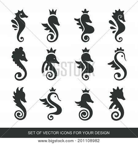 Stylized graphic Seahorse. Silhouette illustration of sea life. Sketch for tattoo on isolated white background. Vector flat Set of icons logo collection