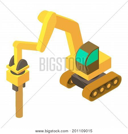Excavator hammer icon. Isometric illustration of excavator hammer vector icon for web
